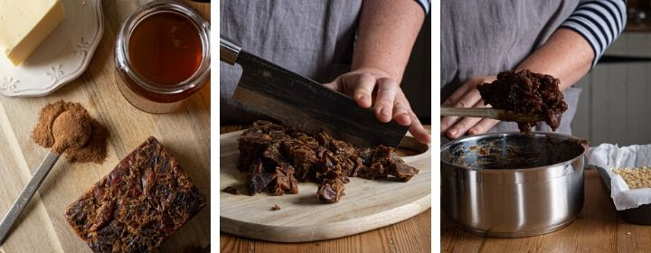 3 images showing step by step how to make the sticky date filling for date flapjacks
