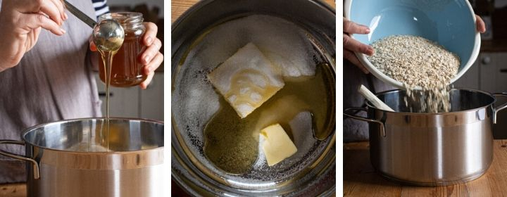 3 images showing step by step how to make the oat mixture for the best flapjacks