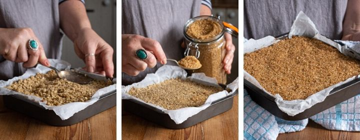 3 images showing step by step how layer the perfect date flapjacks