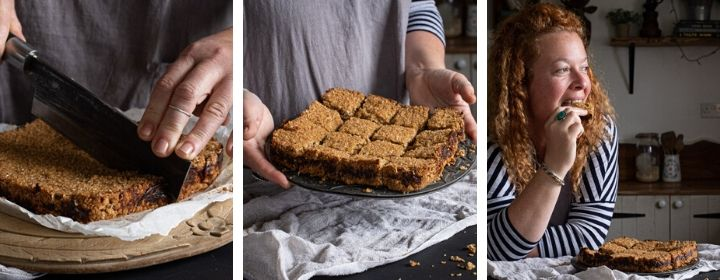 3 images show freshly baked date flapjacks