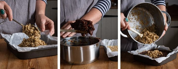 3 images showing how to make the sticky date mixture in the best date flapjacks