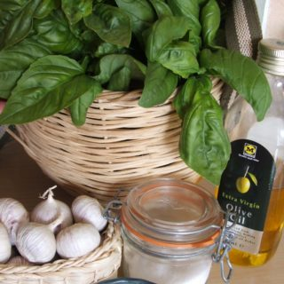 Homemade pesto ingredients