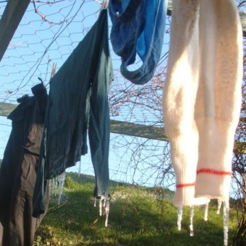 Frozen washing on the line