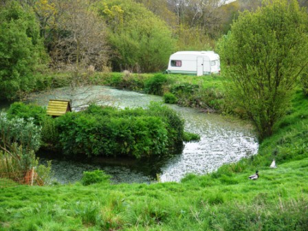 Caravan by the duck pond