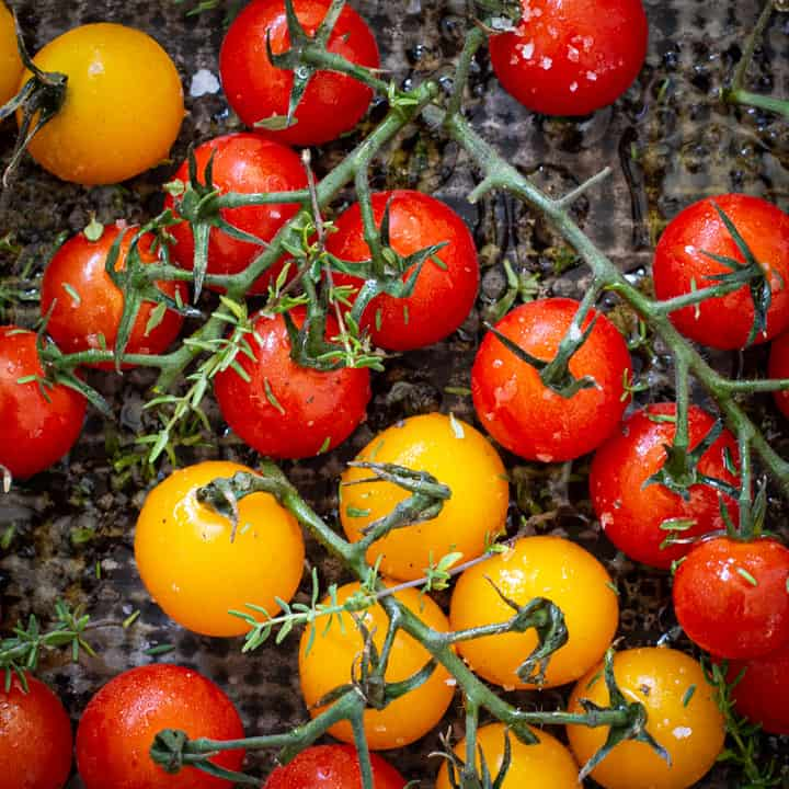 red and yellow cherry tomatoes on the vine in a black baking tray ready for roasting