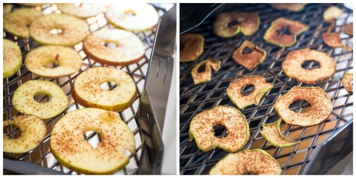 Dehydrating apples, before and after