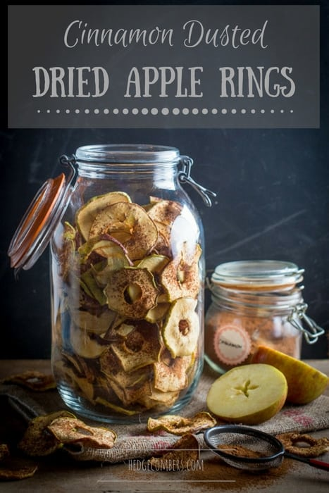 Glass jar filled with dried apple rings that have been dusted with cinnamon, one of my 25 Homemade Christmas Gift Ideas