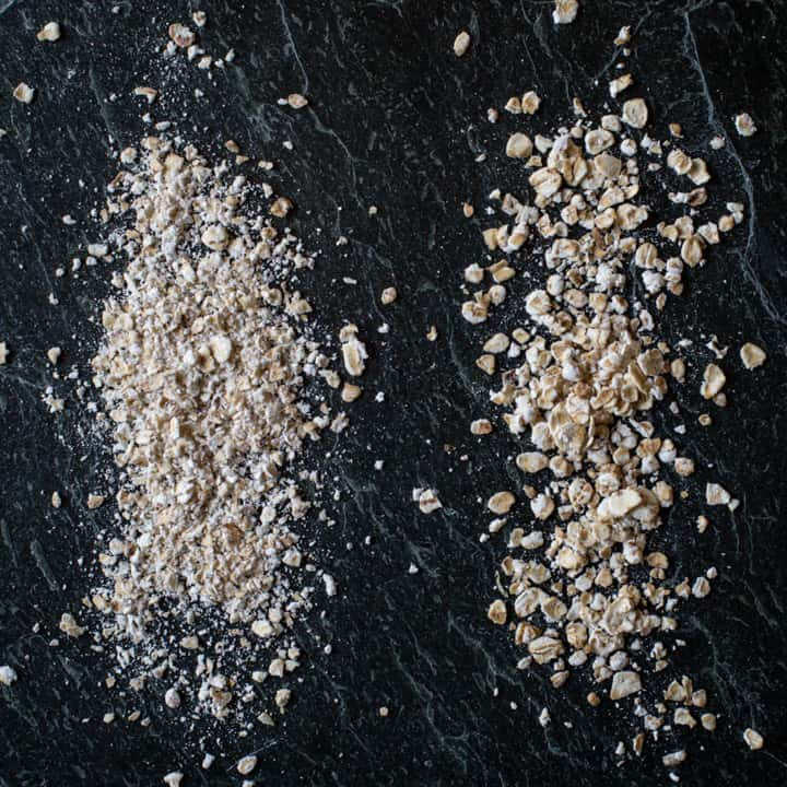 black slate with a sprinkle of porridge oats and a sprinkle of medium ground oats