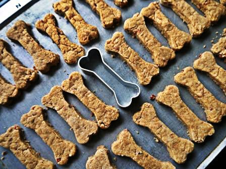 Homemade Dog Treats on a baking tray, one of my 25 Homemade Christmas Gift Ideas