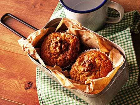 Pear & walnut muffin