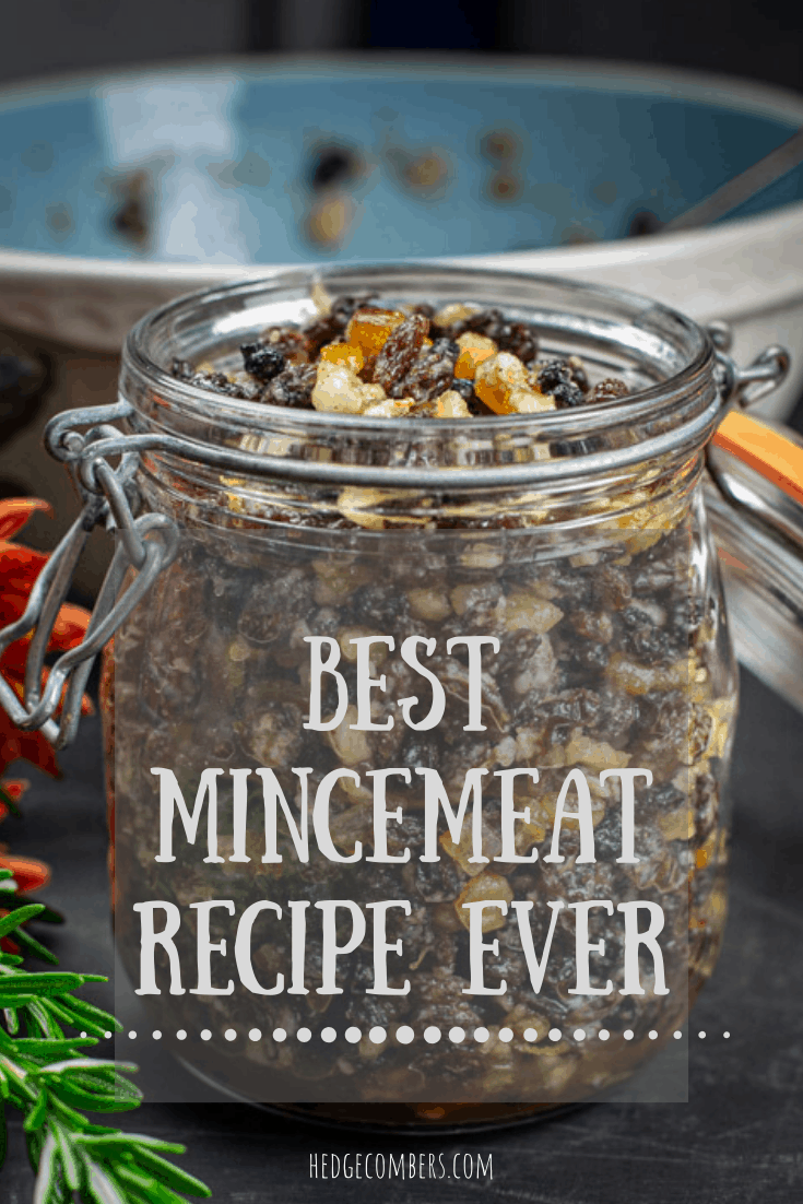 Glass jar of mincemeat with words 'Best Mincemeat Recipe Ever' in front of it