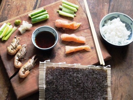 Ingredients for making sushi