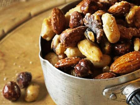 small bowl of honey and sea salt roast nuts, one of my 25 Homemade Christmas Gift Ideas