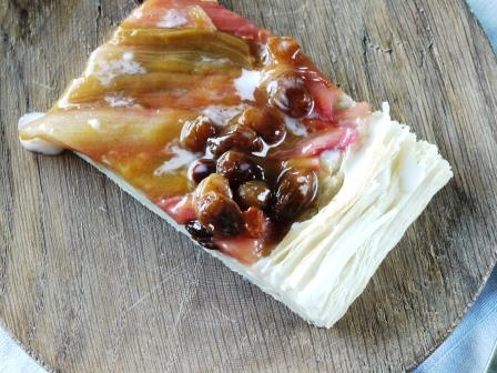 Rhubarb Slice  on a wooden board