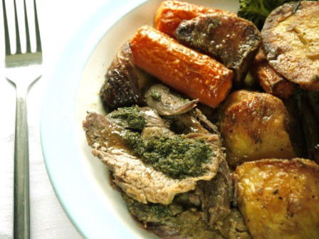 Yummy Home Made Mint Sauce on roast Lamb dinner