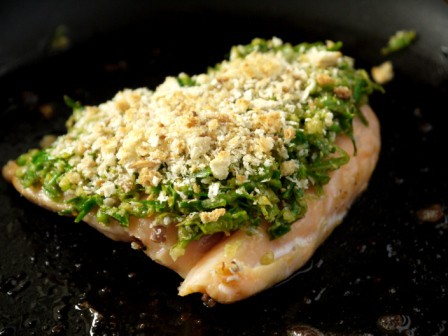 Wild Garlic & Walnut Crust on a piece of fish