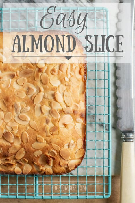 freshly baked almond slice on cooling rack with vintage bread knife