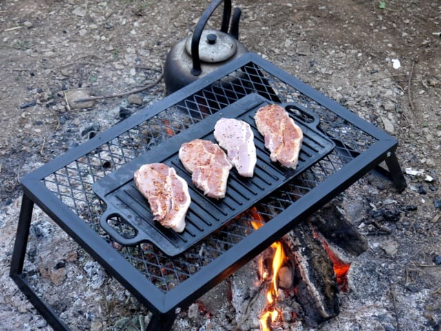 Ronnie sunshines camp fire grill and cast iron griddle