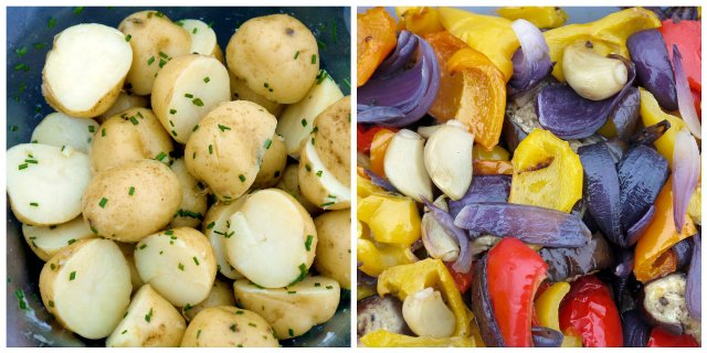 lemon potatoes and roast peppers