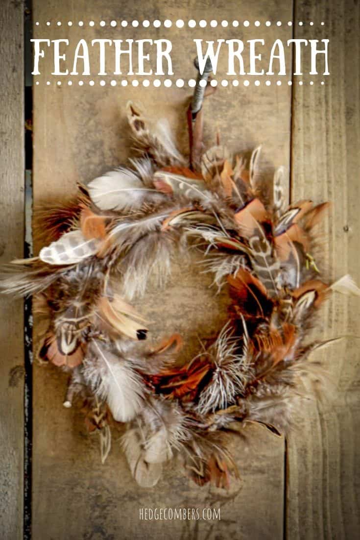hand made pheasant feather wreath against wooden barn door