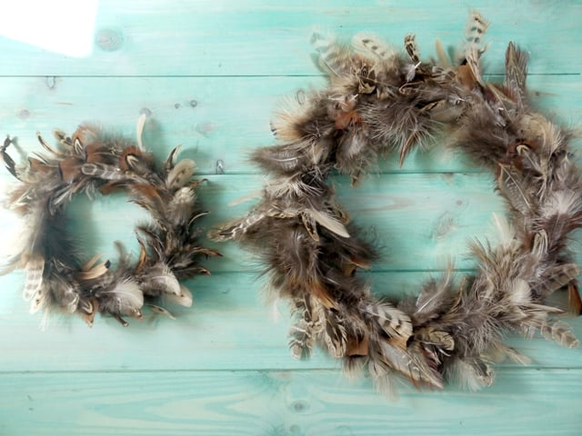 Making a Pretty Feather Wreath
