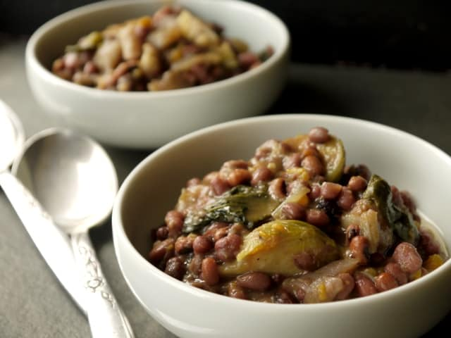 two bowls of aduki bean and veg stew