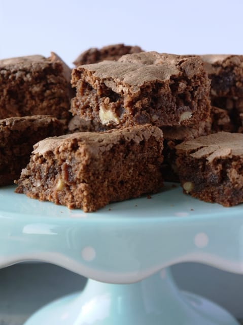 Freshly baked chocolate brownies