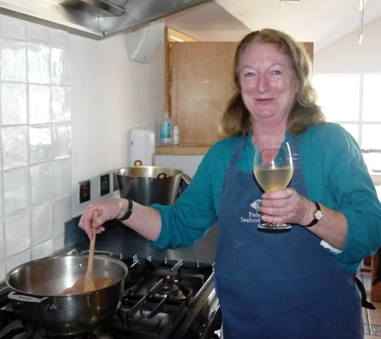 Drinking wine, cooking squid