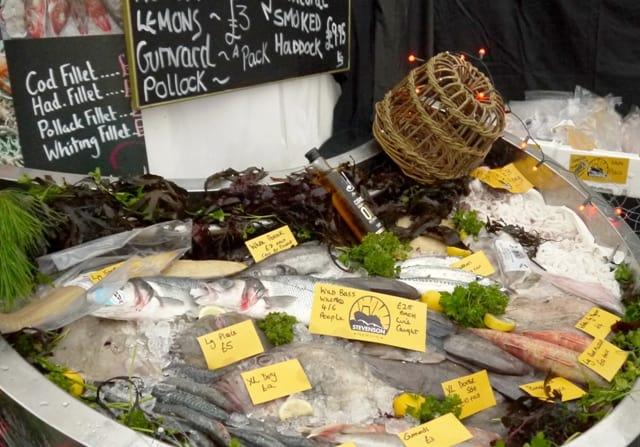 Fresh fish stall wirh fresh Squid