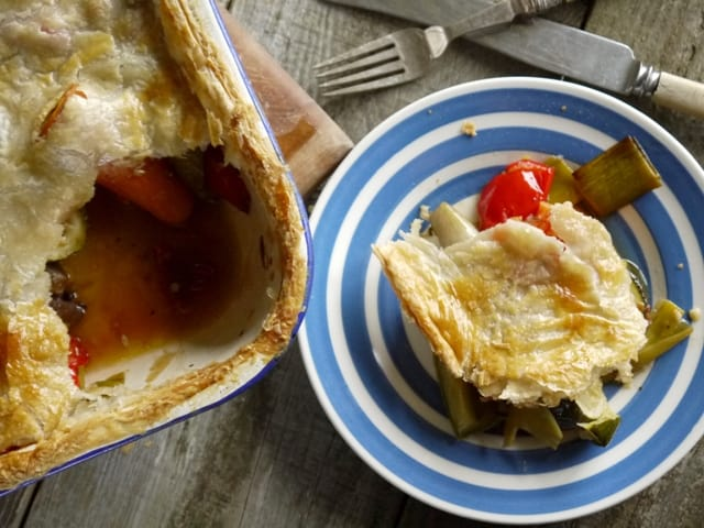 A serving of roast vegetable pie