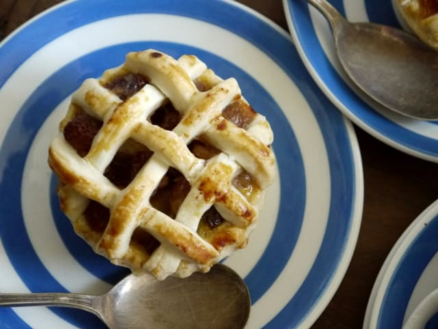 Mini Lattice Apple Pies  on blue and white plates