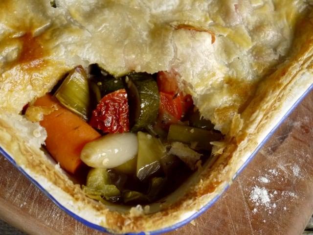 Yummy roast veggie pie