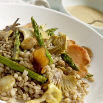 Asparagus and Oyster Mushroom Barley Salad with Tahini Orange Dressing