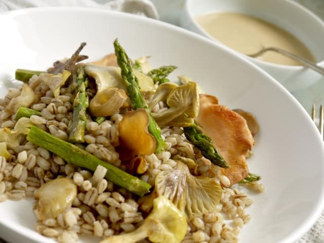 Roast Asparagus, Oyster Mushroom and Pearl Barley Salad