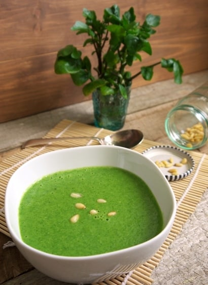 A recipe for fresh watercress and pine nut soup