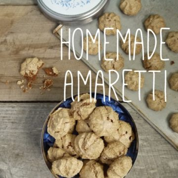 Homemade Amaretti biscuits on a wooden background