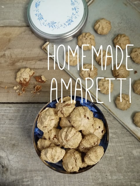 Homemade Amaretti biscuits on a wooden background, one of my 25 Homemade Christmas Gift Ideas