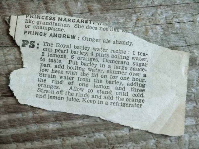Royal Barley Water Recipe on a newspaper clipping