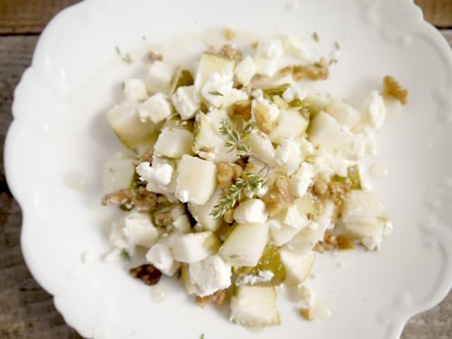 Pear Walnut Feta Salad with Warmed Herb Honey