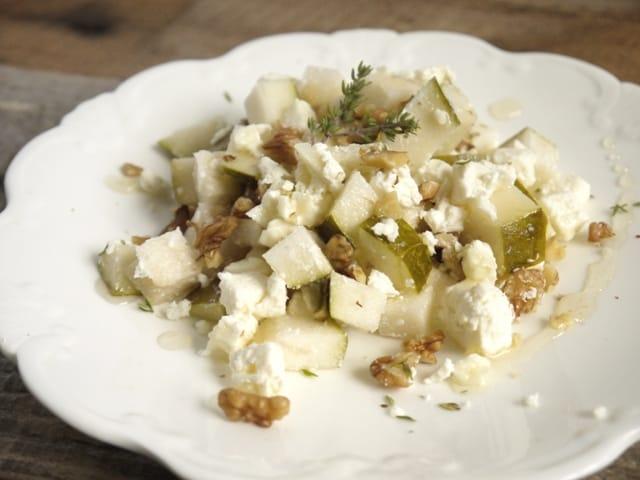 Pear walnut and feta salad with warm herb honey