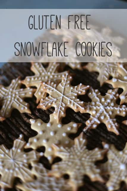 Cute Gluten Free Snowflake Cookies on a wooden background, one of my 25 Homemade Christmas Gift Ideas
