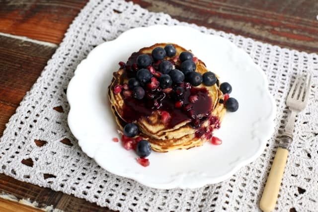 Pomegranate and Blueberry Pancakes