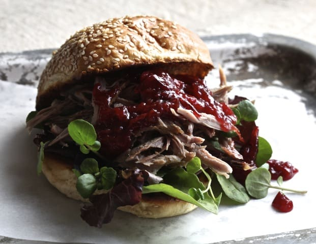 Brioche bun With Pulled Duck And Plum Sauce