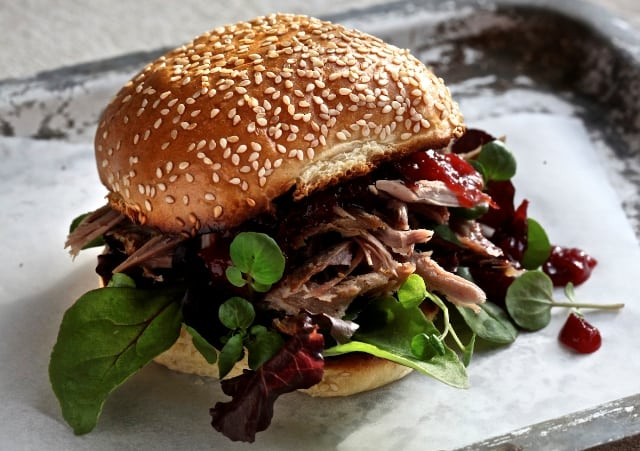 Pulled Duck Bun With Plum Sauce