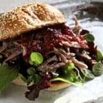 Five Spice Pulled Duck Bun with Plum Sauce
