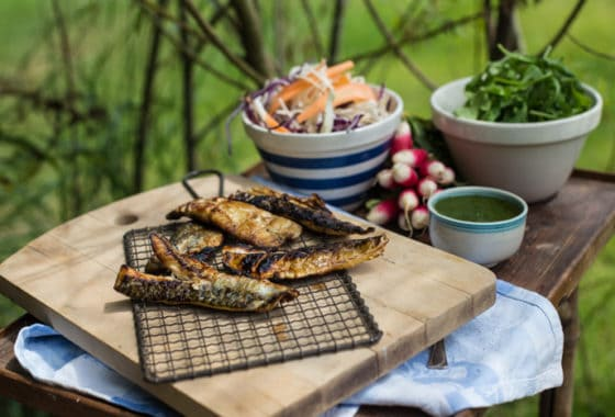 Watercress Salsa Verde with BBQ Mackerel