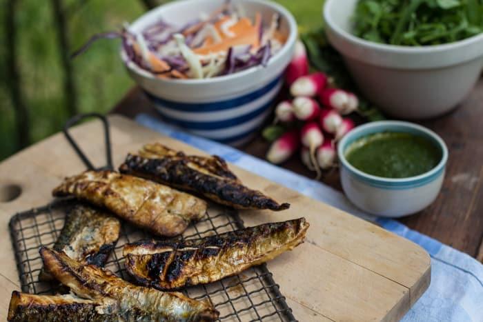 Watercress Salsa Verde & BBQ mackerel