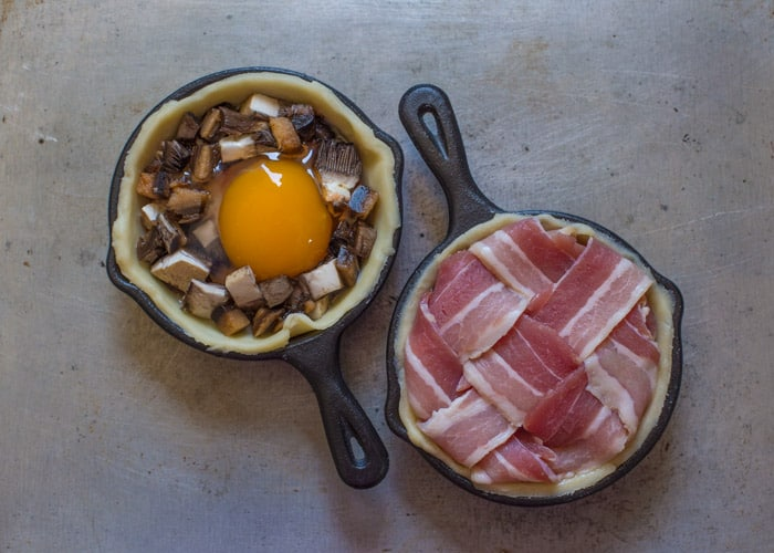 Mini Breakfast Pies being prepared in small cast iron pans