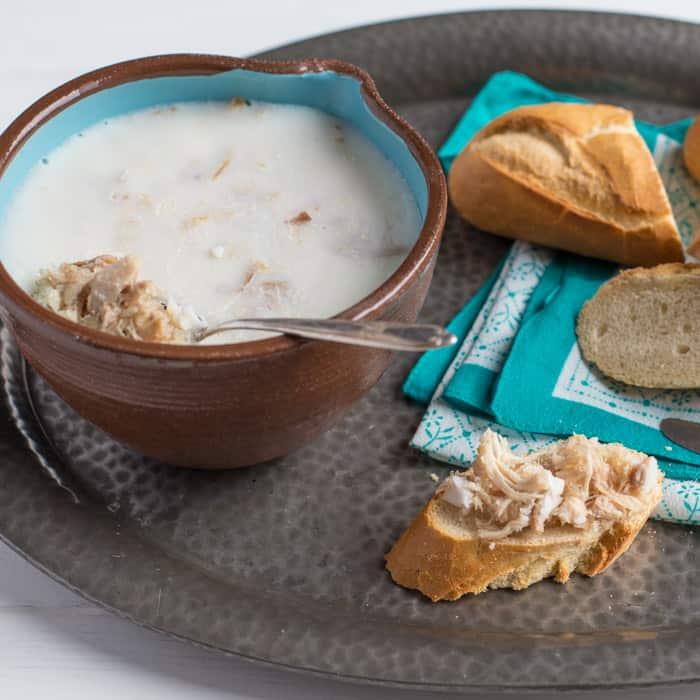 Rabbit Rillettes on crusty bread on a tray