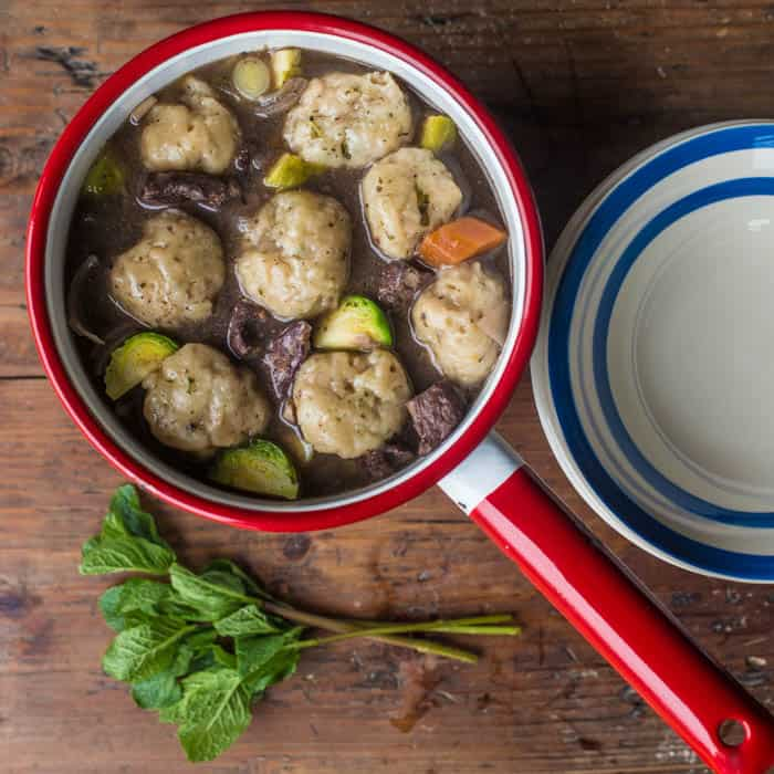 Mutton Stew with Minted Dumplings